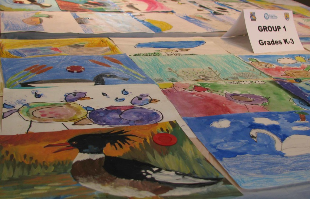 Groups of entries from the elementary school artists.