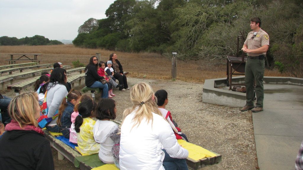 Greeting school kids at the Elkhorn Slough Reserve