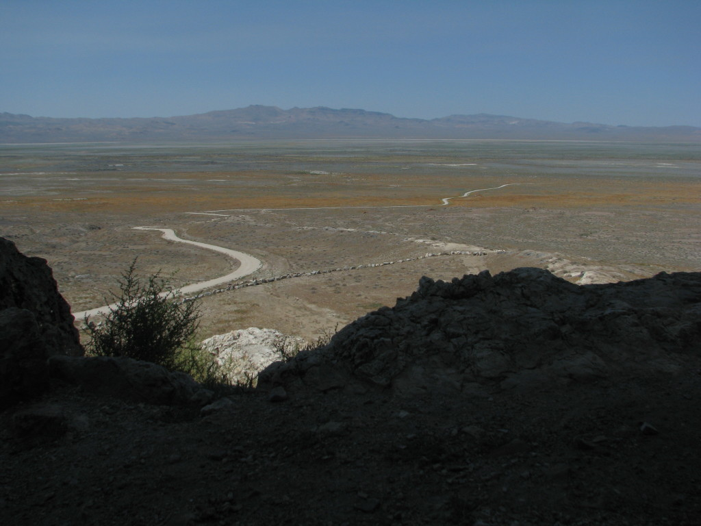 View of Lake Lahontan from the mouth of Lovelock Cave